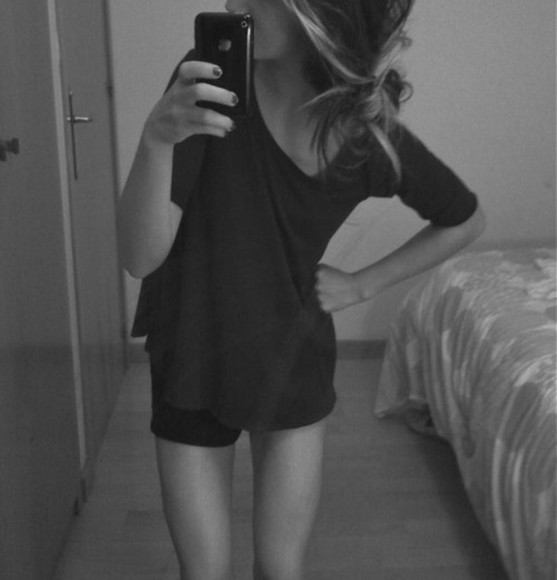 black t-shirt comfortable blouse tumblr