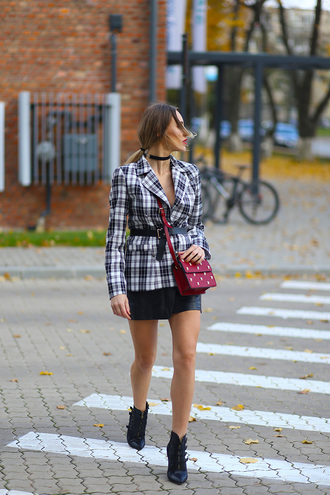 jacket tumblr printed jacket blazer tartan plaid flannel mini skirt black skirt black leather skirt leather skirt boots ankle boots black boots pointed boots choker necklace black choker necklace bag red bag embellished embellished bag