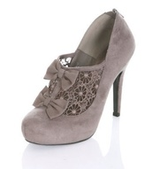 shoes,high heels grey,lace,bows