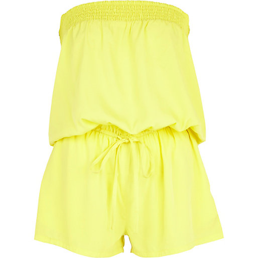 Yellow bandeau waisted playsuit