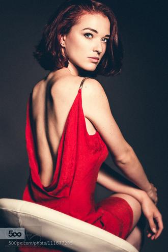 dress red dress elegant dress backless dress