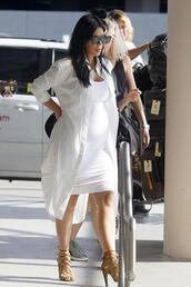 dress,sandals,bodycon dress,sunglasses,shirt,shirt dress,kim kardashian,all white everything,summer outfits,summer dress,maternity dress