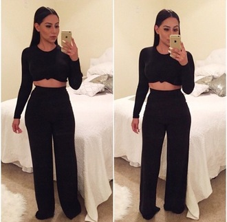 jumpsuit jumper two-piece palazzo pants knotted top black set black dress black top and bottoms