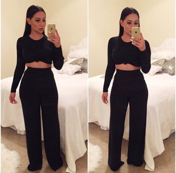 8e094202037 jumpsuit jumper two-piece palazzo pants knotted top black set black dress  black top and