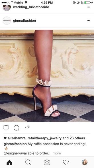 shoes ruffle heels high heels