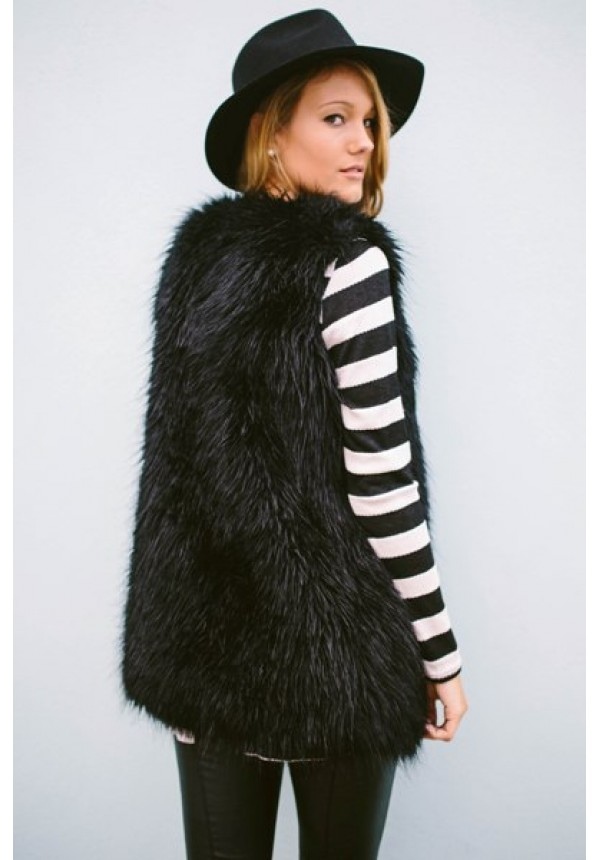 Zoe Vest- A black fur vest is a MUST have in every girl's wardrobe. Co
