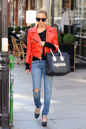 leather,nicole richie,red jacket,jacket