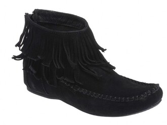 suede low boots fringes moccasins flat black shoes