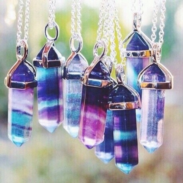 jewels gemstone crystal gem stone necklace point necklace indie hipster color/pattern gemstone pendant summer accessories gems galaxy print moon necklace