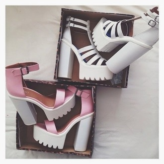 shoes boots cut-out pumps heels on gasoline high heels pink pink high heels tumblr tumblr girl boho boho chic alternative tumblr clothes tumblr outfit colorful platform sandals