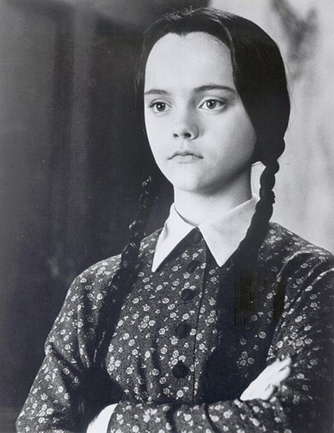 black dress printed dress collar Christina Ricci