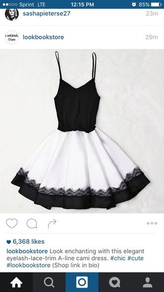 dress black and white dress lace dress