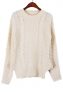 Fireside Irregular Hem Cable Sweater - OASAP.com
