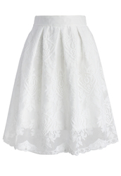 skirt,chicwish,pure lace embroidered pleated skirt,midi skirt,pure skirt,lace skirt,chicwish.com,embroidered