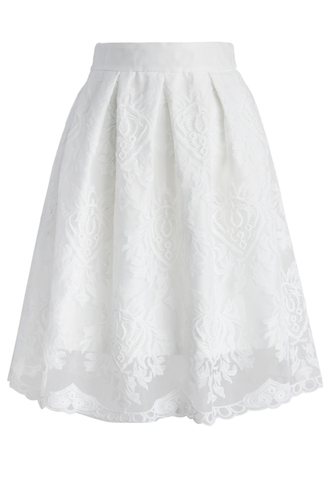 skirt chicwish pure lace embroidered pleated skirt midi skirt pure skirt lace skirt chicwish.com embroidered