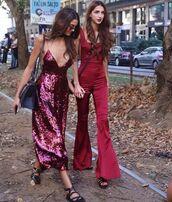 dress,pink sequin,pink sequins,pink dress,midi dress,sequins,sequin dress,jumpsuit,red jumpsuits