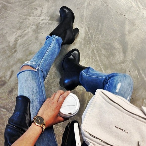 jeans blue jeans ripped jeans hipster city bag shoes black leather boots black boots leather high heels