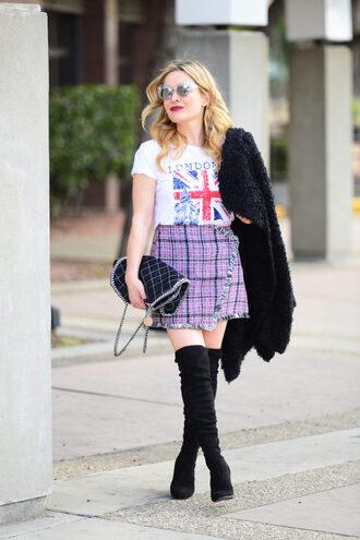 thehuntercollector blogger t-shirt skirt shoes bag coat sunglasses thigh high boots boots mini skirt