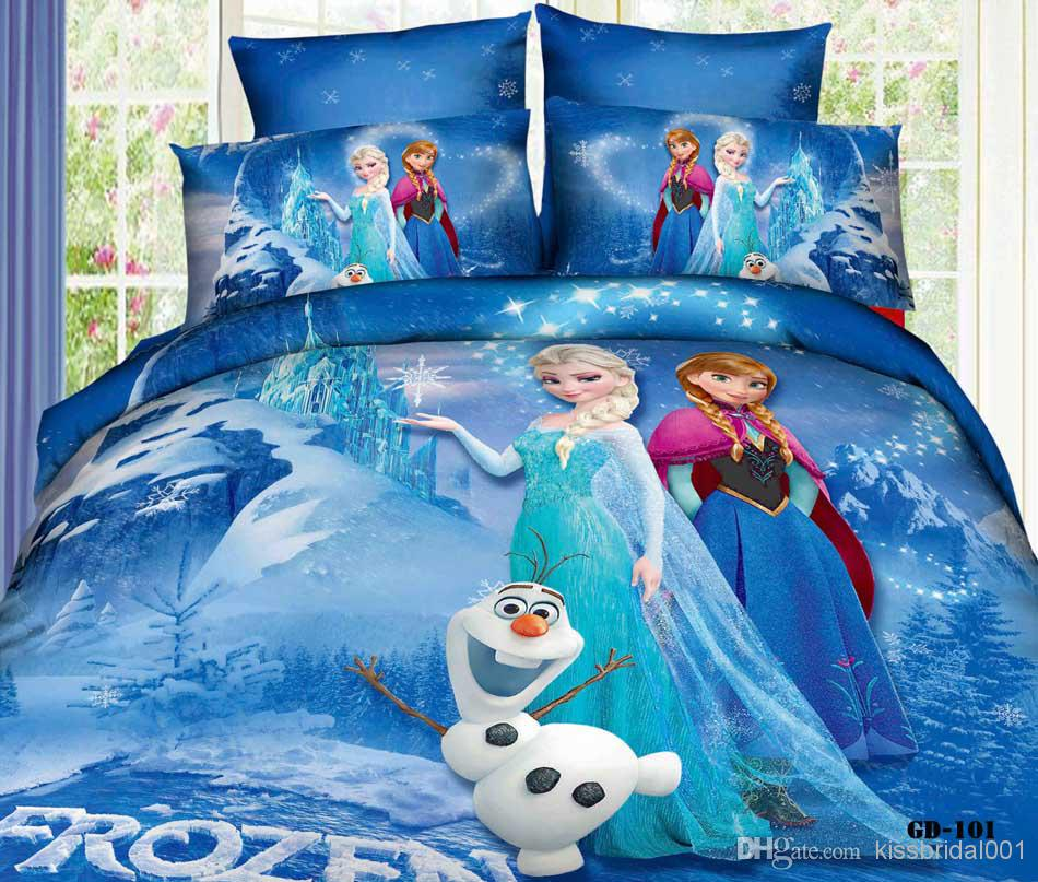 Wholesale Bed In A Bag - Buy Frozen 3D Cartoon Kids Bedding Sets Elsa Anna Princess 100% Cotton Bed In A Bag Duvet Covers Flat Sheet Pillow Cases, $114.14 | DHgate