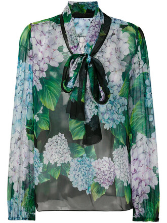 blouse embroidered women floral silk green top