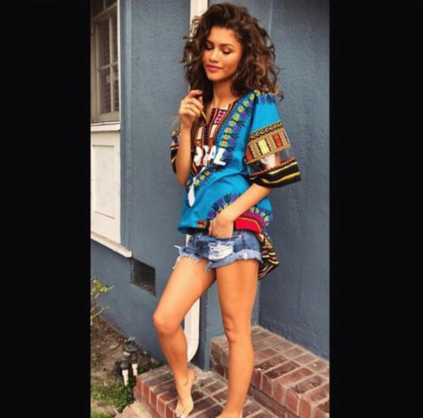shirt zendaya dashiki colorful african print multicolor blue shirt tribal print shorts cute shorts denim shorts multicolor t-shirt tribal pattern blue