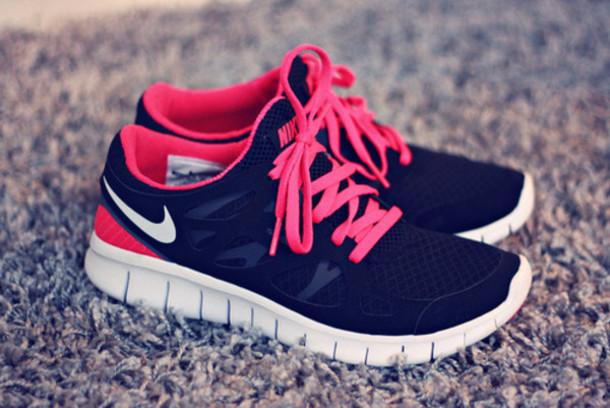 shoes nike running sports fitness pink black white cute beautiful nike