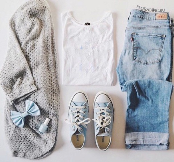 t-shirt cardigan shoes shirt hair accessory jeans blouse