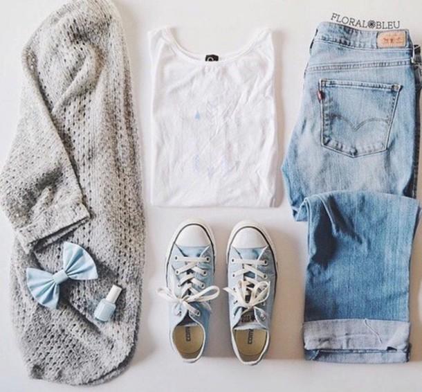 t-shirt cardigan shoes shirt hair accessory jeans blouse