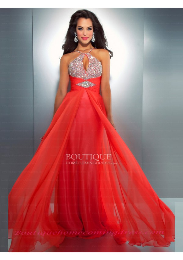 Chiffon halter natural beading/sequins prom dress