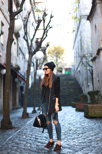 b a r t a b a c blogger sweater ripped jeans coat beanie handbag jeans shoes bag jewels