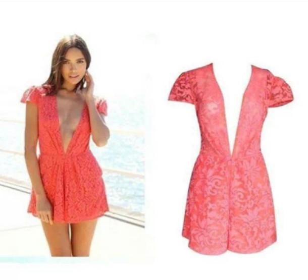dress jumpsuit lace coral