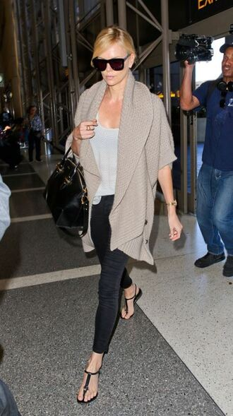 cardigan sandals flats charlize theron