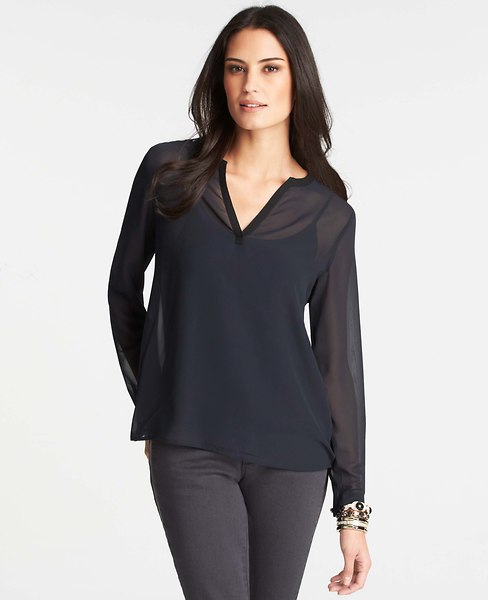 Sheer Chiffon Split Neck Top | Ann Taylor