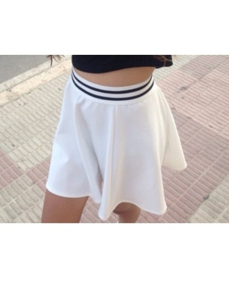 skirt white black pretty cute mini skirt short skirt flare skirt
