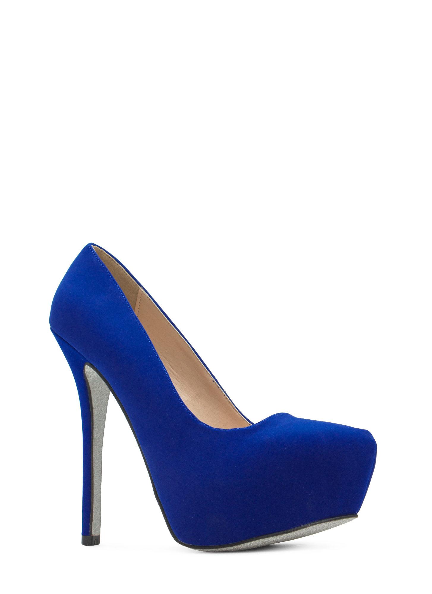 Glitterati faux nubuck platform heels cobalt black dkred fuchsia