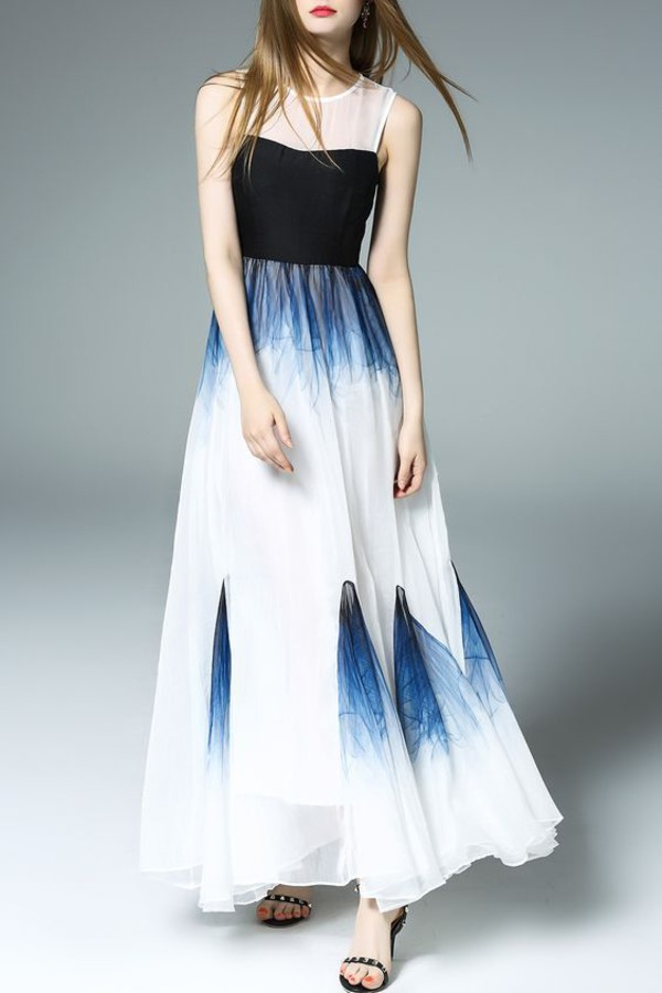 dress dezzal ombre blue white summer fashion trendy style