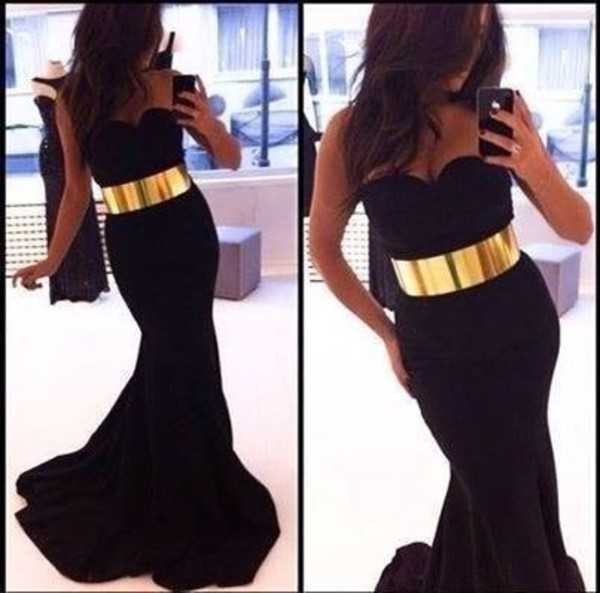 dress black prom dress black prom dress gold belt
