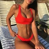 swimwear,bikini,bikini top,red