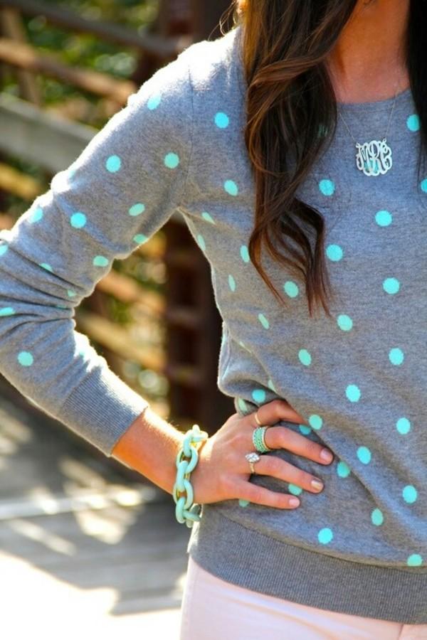sweater polka dots grey sweater polka dots blue polka dot mint