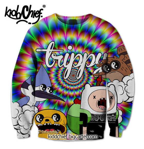 sweater adventure time crewneck unisex trill hipster regular show finn jake mordicai rigby trippy colors rainbow