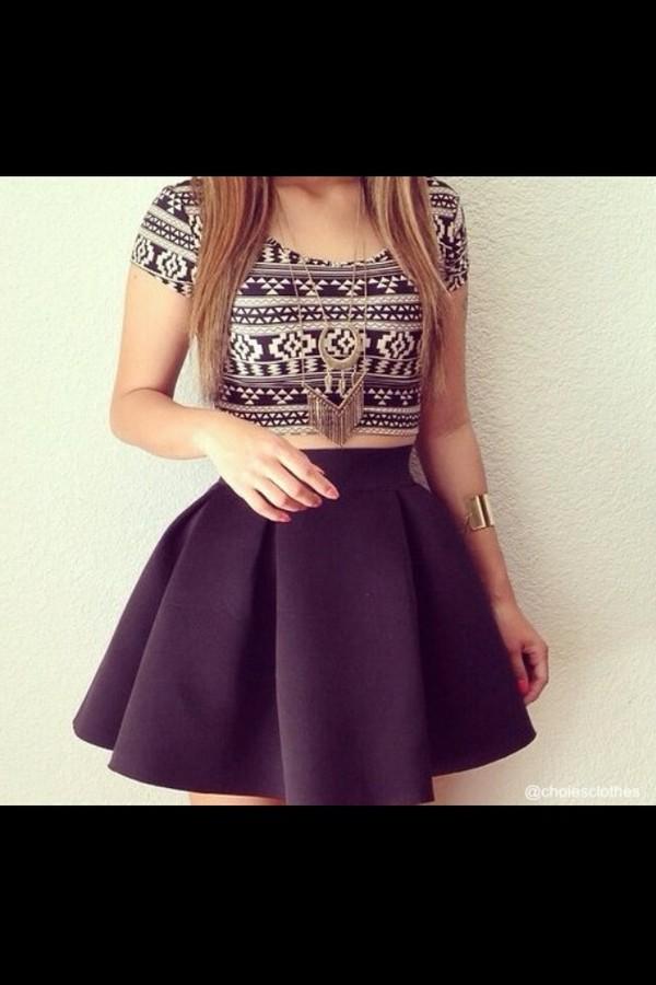 skirt black skirt jewels dress shirt aztec vintage black and white aztec black and white foley flowy t-shirt