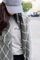 the fancy pants report,blogger,cap,love quotes,grey sweater,checkered,scarf,hat,blanket scarf,grey scarf,grid,all grey everything,fall outfits,fall accessories
