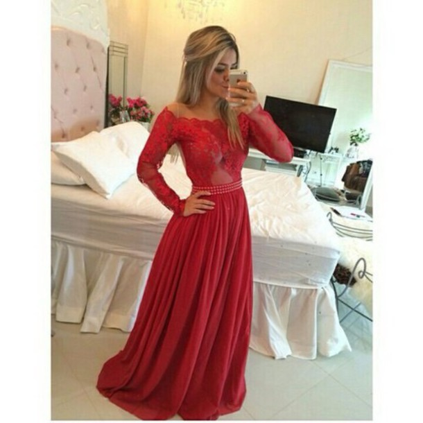dress long red dress glamorous dress elegant lace long gown prom red dress  off the shoulder bdda4f05f