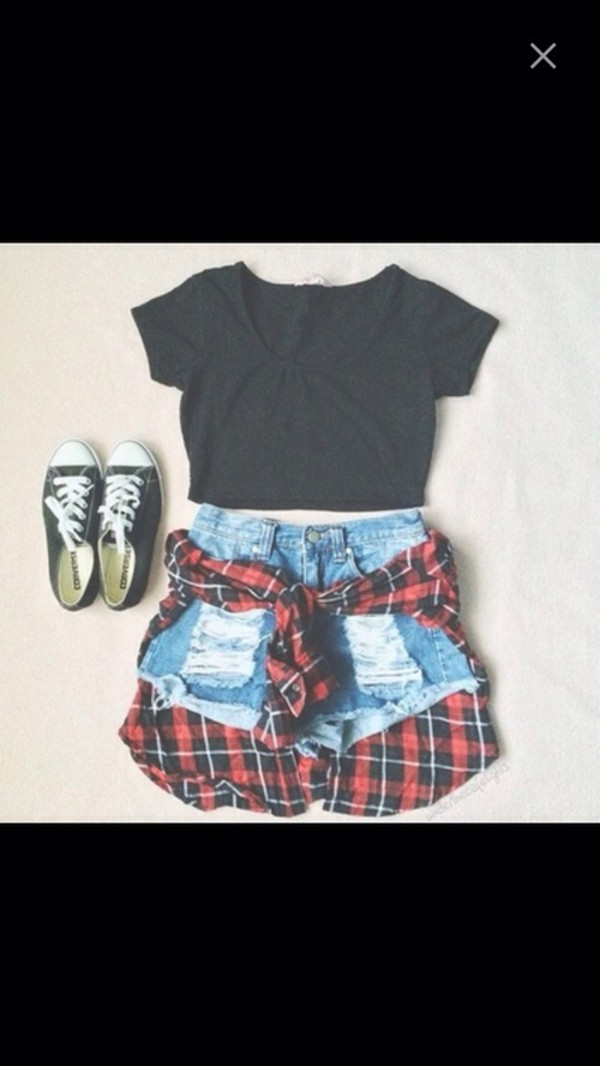 t-shirt blouse skirt shorts