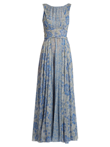 gown chiffon floral print silk blue dress