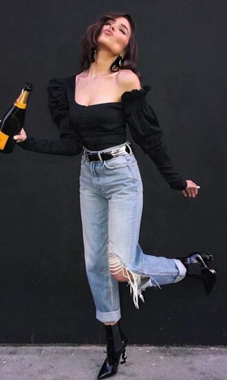blouse top shirt olivia culpo jeans denim instagram