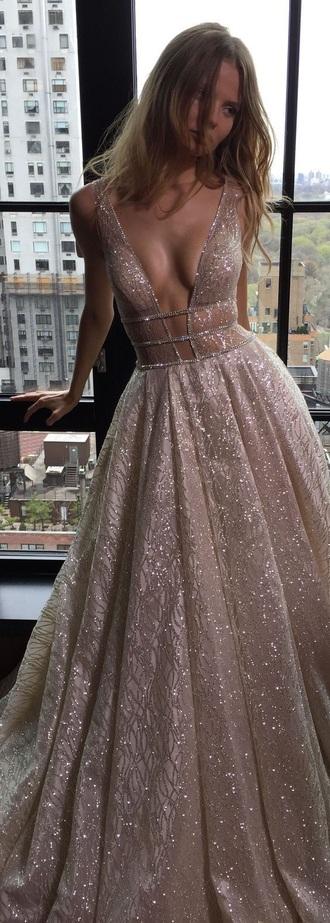 dress rose gold sparkle gown plunge v neck formal dress