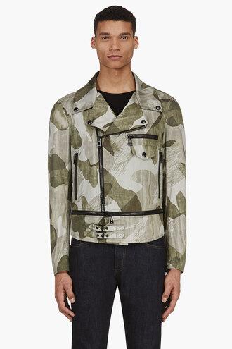 leaf clothes green faded print worthing biker jacket menswear outerwear
