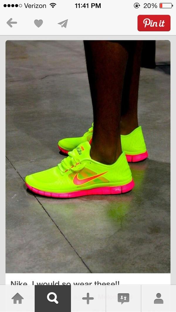 shoes neon yellow pink nike nike running shoes running shoes