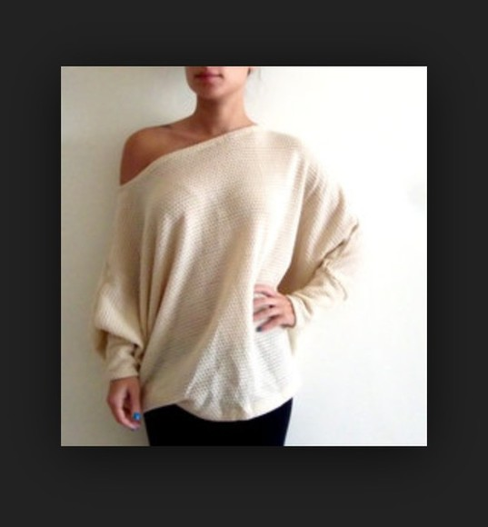 oversized cream colour sweaters off the shoulder